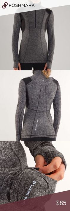 Lululemon Run Your Heart Out pullover black size 8 Lululemon Run your heart out pullover heathered black size 8   Love this first release pullover, but my closet is getting streamlined. Features a subtle ruffle, half zip and cold hands hand covers for those chilly days! EUC. One tiny pull under right armpit that I only noticed when I was checking its condition. (Pictured) Otherwise it's unnoticeable. lululemon athletica Tops Tees - Long Sleeve