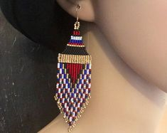 Luxury Native American Beaded Minimalist Earrings Handmade Valentine Gift For Her Blue Orange Red White Gold Black Glass Seed Bead Huichol