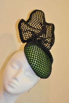 black_green_structural_race_fashion_headpiece_1 BY BRENDA LUI #millinery #hats #HatAcademy