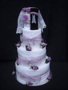 Wedding Towel Cake | Three Tier Lilac Wedding Towel Cake