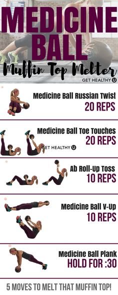 Blast that belly fat and muffin top with this medicine ball muffin top melter workout. Strengthen your abs, back, and core with these exercises using a weighted medicine ball of your choice and repeat 2-3 times, and check out our free exercise library and try more of our exercises! #weightlosssmoothies
