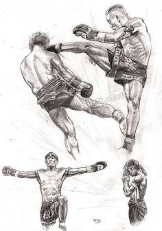 Muay Thai by Alleycatsgarden on DeviantArt Art Of Fighting, Fighting Poses, Muay Thai Martial Arts, Mixed Martial Arts, Muay Thai Tattoo, Muay Thai Training, Training Workouts, Kick Boxing, Japon Illustration