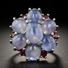 Vintage Star-Sapphire, Ruby, and Diamond Cluster Ring