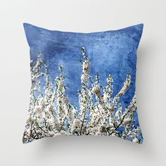 Cherry Blossoms on Blue Throw Pillow by Paula Belle Flores - $20.00