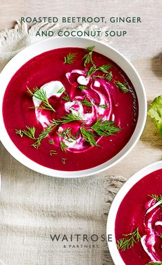 Our velvety beetroot, ginger and coconut soup is the perfect Autumn warmer. Swirl through yogurt and Veggie Recipes, Fall Recipes, Soup Recipes, Vegetarian Recipes, Cooking Recipes, Healthy Recipes, Beetroot Soup, Beetroot Recipes, Christmas Soup