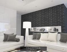 Muralla Black Brick Wall Tile from Tile Mountain only per tile or per sqm. Order a free cut sample, dispatched today - receive your tiles tomorrow Wall Exterior, Exterior Design, Interior And Exterior, Brick Effect Wall Tiles, Black And White Interior, Black White, Black Brick Wall, Feature Wall Design, Simple Furniture