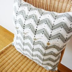 Chevron Pattern Crochet Pillow Gray White... look at that button flap <3