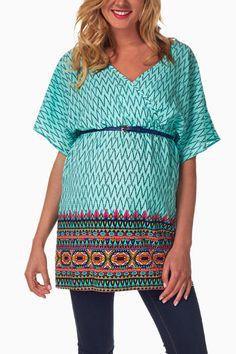 Mint-Green-Blue-Tribal-Chevron-Maternity/Nursing-Blouse