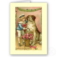 Vintage Victorian Boy/Dog Birthday Greeting Card