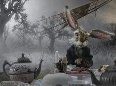 Tim Burton March Hare Costume Alice in Wonderland Alice In Wonderland Animated, Alice In Wonderland Tea Party, Lewis Carroll, Alice Tim Burton, March Hare Costume, Animation Process, Plus Tv, Mia Wasikowska, 3d Fantasy