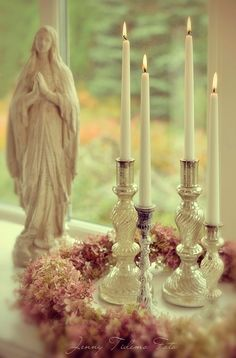 Romantic candles How beautiful Catholic Altar, Catholic Prayers, Roman Catholic, Prayer Corner, Home Altar, Romantic Candles, Blessed Mother Mary, Holy Mary, Prayer Room