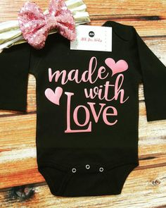 Baby Clothes Made With Love Bodysuit Infant by AllForKidsBoutique Toddler Girl Outfits, Baby Outfits Newborn, Baby Girl Newborn, Toddler Girls, Baby Boys, Carters Baby, Cheap Baby Clothes, Babies Clothes, Summer Clothes