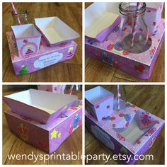 Princess and Frog Party Food Lunch Box with Hotdog Tray & Popcorn Box (Printable by you /DIY) - Dimensions / product details in description by WendysPrintableParty on Etsy