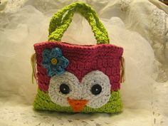 Crocheted Owly Hand Bag for Children by CountryBumpkinBottle