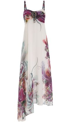 Multicolor Spaghetti Strap Florals Asymmetrical Dress 20.33