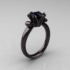 Antique 18K Black Gold 1.5 CT Black Diamond Engagement Ring AR127-18KBGBD.... bubu's idea