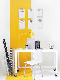 Get inspired to redecorate your home with all yellow decor and design ideas. 25 all yellow modern design ideas for anywhere within your home. Striped Walls, Yellow Walls, Yellow Accents, Yellow Rooms, Bedroom Yellow, Home Office Design, Home Design, Design Ideas, Modern Design