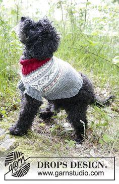 Narvik Woof  - Pull pour chien au tricot, avec jacquard nordique. Du XS au M. Se tricote en DROPS Merino Extra Fine. Modèle tricot gratuit DROPS 185-34