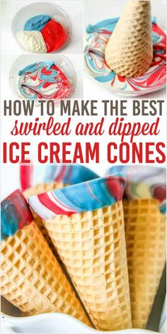 How to make rainbow chocolate dipped ice cream cones. The red, white and blue colors are great for a patriotic of July treat, and other colors can fit any celebration! Fourth Of July Decor, 4th Of July Desserts, 4th Of July Decorations, 4th Of July Party, July 4th, Summer Treats, Holiday Treats, Holiday Parties, Holiday Fun