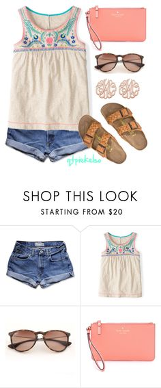"""""""Catchin' Some Rays"""" by qtpiekelso ❤ liked on Polyvore featuring Abercrombie & Fitch, Birkenstock, Ray-Ban and Kate Spade"""