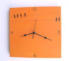 Wall clock Birds  black and orange canvas clock  Hand por Shellyka, $32.00