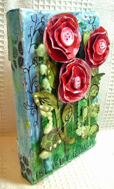 KitsNbitscraps: Posies Art Canvas with Art Anthology using paints and spray