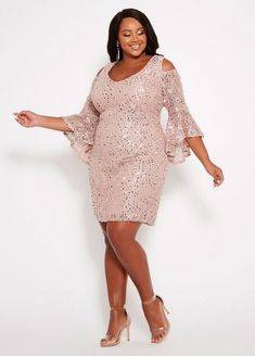 e32b5fc2a99 Ashley Stewart cold shoulder sequin dress.  ashleystewart  plussize   plussizefashion Plus Size Sequin
