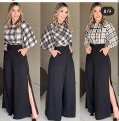 Loose palazzo high waist wide leg pant with pleated detail Classy Outfits, Chic Outfits, Fashion Pants, Hijab Fashion, Modest Fashion, Fashion Dresses, Mode Hijab, Elegant Outfit, Dress Patterns