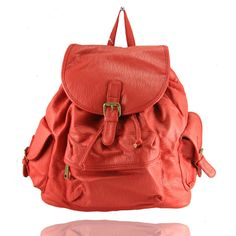 The Blackwall Rucksack by LYDC in Red Leather-Look Fabric