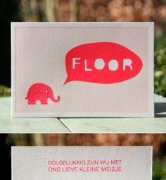 letterpers_letterpress_geboortekaartje_Floor_olifantje_neon_pastel_roze_ballon_ue