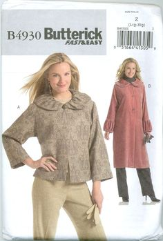 Butterick B4930 - Plus Size Ruffled Collar Jacket and Coat
