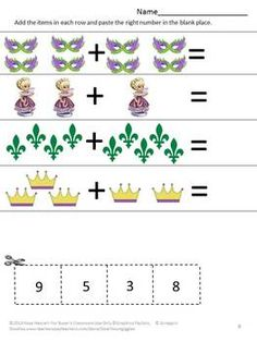 Strong counting skills will help students progress to a strong math foundation. This in turn benefits them as they advance through the grades. Students can join the Mardi Gras fun while practicing their counting skills with this Mardi Gras Counting Fun Cut and Paste worksheet packet.