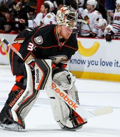 ANAHEIM, CA - MAY 25: Frederik Andersen #31 of the Anaheim Ducks skates back into position during the game against the Chicago Blackhawks in Game Five of the Western Conference Finals during the 2015 NHL Stanley Cup Playoffs at Honda Center on May 25, 2015 in Anaheim, California. (Photo by Debora Robinson/NHLI via Getty Images)