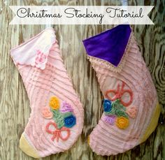 Take those favorite hankies, embroidered goodies and chenille beadspreads to make up an heirloom christmas stocking. This free christmas stocking sewing pattern is a great pattern for beginners too! It's large enough for a fair amount of presents– but not too big… can't be too greedy now, can we? The top edge of the Christmas …