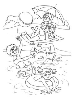 Summer Coloring Sheets, Easy Coloring Pages, Free Printable Coloring Pages, Coloring Books, Art Drawings For Kids, Drawing For Kids, Easy Drawings, Art For Kids, Summer Activities For Kids