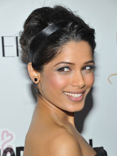Freida Pinto Beehive Updo With Headband - Updo Hairstyles for Weddings: Best Bridal Updos