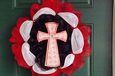 Red, White and Black Deco Mesh Wreath with Decoupage Crosses