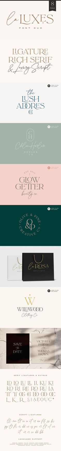Indulge yourself in a luxurious typography pairing with La Luxes; a classic font duo consisting of an elegant Script & ligature-rich Serif. Also included in this product are 8 bonus logo templates… Typography Fonts, Typography Design, Branding Design, Logo Design, Typeface Font, Classic Fonts, Font Shop, Affinity Designer, Brush Font