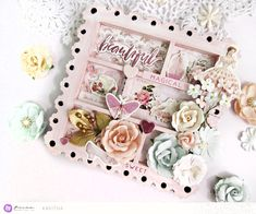 """""""This must be the sweetest love-themed collection ever! I made a mini shadow box using the gorgeous flowers, chipboard stickers, and ephemera die-cuts. I used Antique Pink Chalkboard Paint to color my shadow box  and the color perfectly suits this collection!"""" ~ Kavitha"""