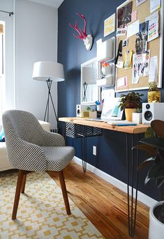 Stylish and feminine home office design for Megan Collins, founder of men's lifestyle website Style Girlfriend.