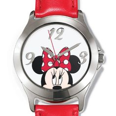 Ladies red leatherlike-strap watch with a graphic of Minnie Mouse peeking from the nose up. Regularly $29.99, buy Avon Jewelry online at http://eseagren.avonrepresentative.com