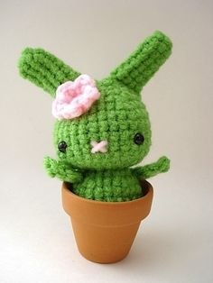 Flower Pot Moon Bun - Amigurumi Bunny Rabbit