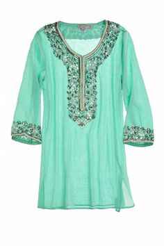 Sage Embellished Cotton Tunic