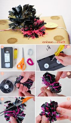 make pom poms from VHS & cassette tapes (with video tutorial)