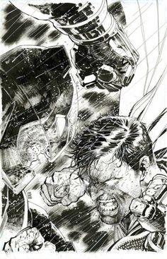 Batman v Superman cover by Jim Lee, DC Comics Batman Comic Art, Batman Vs Superman, Batman Comics, Marvel Art, Batman Versus, Comic Book Artists, Comic Artist, Comic Books Art, Dc Comics Art