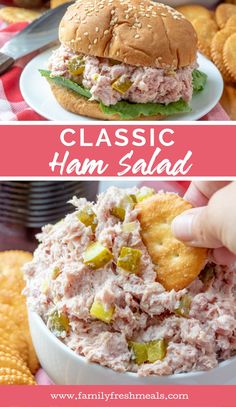 This Classic Ham Salad recips is great in a sandwich but you can also serve it on its own in a bowl, with crackers for dipping. Appetizer Sandwiches, Meat Appetizers, Appetizer Recipes, Ham Salad Sandwiches, Ham Salad Recipes, Pork Recipes, Cooking Recipes, Recipes With Ham Steak, Recipes With Leftover Ham