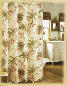 Designer Tommy Bahama Bath Curtain Palm Tree Flowers, Palm Trees, Tropical  Curtains, Tree