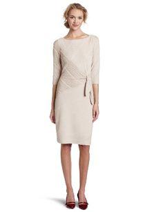 Amazon.com: Donna Morgan Women's 3/4 Sleeve Side Tie Dress with Diagonal Seams: Clothing