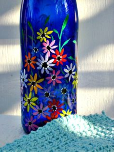 Recycled Blue Wine Bottle Dish Soap Dispenser by GlassGaloreGal, $15.00