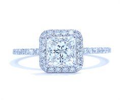French-set princess halo diamond band engagement ring by Ascot Diamonds #ascotdiamonds